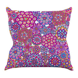 """Kess InHouse - Julia Grifol """"My Happy Flowers"""" Throw Pillow (20"""" x 20"""") - Rest among the art you love. Transform your hang out room into a hip gallery, that's also comfortable. With this pillow you can create an environment that reflects your unique style. It's amazing what a throw pillow can do to complete a room. (Kess InHouse is not responsible for pillow fighting that may occur as the result of creative stimulation)."""