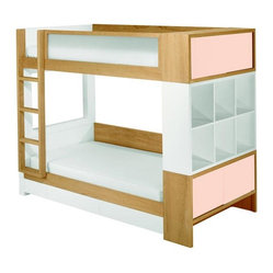 Duet Bunk Bed Cotton Candy Cabinet w/ Light Frame & Drawers