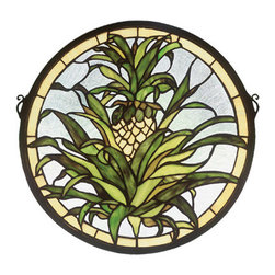 "Meyda Tiffany - 16""W X 16""H Welcome Pineapple Medallion Stained Glass Window - The pineapple, a traditional sign of welcome, is depicted in this Meyda Tiffany original window of Honey Gold fruit with Tropical Green foliage on a Clear seedy background. Handcrafted utilizing the copper foil construction process and more than 210 pieces of stained art glass encased in a solid brass frame. Mounting bracket and jack chain included."