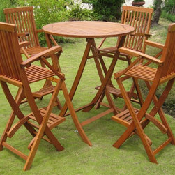 International Caravan - 5-Pc Folding Bar Set - Includes high table and four bar-height chairs. Made from environmentally sustainable yellow balau hardwood. Stain finish. Made in Vietnam. Assembly required. Chair: 36 in. W x 36 in. D x 43 in. H (30 lbs.). Table: 36 in. Dia. x 42 in. H (46 lbs.)Add of touch of style to your outdoor spaces with the Royal Tahiti 'Seville' bar-height dining set.