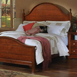 Vaughan Bassett - Panel Bed w Nightstand in Cherry Finish (Full - Choose Bed Size: FullIncludes panel bed and nightstand. Cherry finish. Assembly required. Nightstand:. 2 Drawers. 1 Open shelf. 28 in. W x 16 in. D x 29 in. H. Panel bed:. Full Size:. Includes panel headboard, panel footboard and wood rails with 3 1-inch slats. Panel headboard: 63 in. L x 2 in. W x 62 in. H. Panel footboard: 65 in. L x 2.5 in. W x 29 in. H. Wood rails: 76 in. L x 6 in. W x 1 in. H. Queen Size: . Includes panel headboard, panel footboard and wood rails with 3 1-inch slats. Panel headboard: 63 in. L x 2 in. W x 62 in. H. Panel footboard: 65 in. L x 2.5 in. W x 29 in. H. Wood rails: 82 in. L x 6 in. W x 1 in. H. Eastern King Size:. Includes panel headboard, panel footboard and wood rails with 6 1-inch slats. Panel headboard: 80 in. L x 2 in. W x 62 in. H. Panel footboard: 82 in. L x 2.5 in. W x 29 in. H. Wood rails: 82 in. L x 6 in. W x 1 in. H. California King Size: . Includes panel headboard, panel footboard and wood rails with 6 1-inch slats. Panel headboard: 80 in. L x 2 in. W x 62 in. H. Panel footboard: 82 in. L x 2.5 in. W x 29 in. H. Wood rails: 86 in. L x 6 in. W x 1 in. H