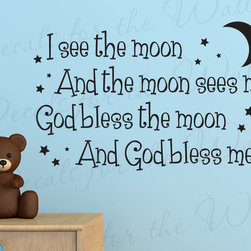 Decals for the Wall - Wall Quote Decal Sticker Vinyl Art Lettering God bless the moon Nursery B71 - This decal says ''I see the moon and the moon sees me. God bless the moon and God bless me.''