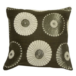 Pillow Decor - Pillow Decor - Odyssey Garden Silver 17 x 17 Throw Pillow - Soft chenille flowers in light taupe and metallic gray flowers are set against charcoal gray background on this stunning contemporary floral design pillow. The look is both rich and elegant. A fantastic pillow to add a dramatic touch of monochrome contrast to your decor.