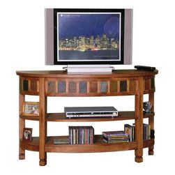 Sunny Designs - Sedona Curved Entry/ TV Console - Sedona Curved Entry/ TV Console; Distressed oak solids & veneers; Natural slates; Weight: 76.8 lbs; Dimensions:48W