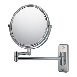 """Mirror Image - Double Arm Wall Mirror - With its sleek and elegant design, the Double Arm Wall Mirror is the perfect fit for any bathroom. Its thirteen inch extension allows this piece to pivot a full 180 degrees. Its 7 ¾"""" diameter and 1x/5x double sided mirror is perfect to catch you at your best from any angle. Comes in a variety of finishes."""