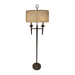Patinated Brass Floor Lamp with Ring Finial - This rich hued lamp is sure to breathe warmth into any space! The American patinated brass floor lamp with ring finial is in beautiful condition and features the original hide shade. Swoon!