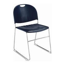 KFI Seating - Sled-Based Stack Chair w Polypropylene Seat & - Color: BlackSet of 2 stacking chairs. Contoured and textured polypropylene seat and back. 11 mm. Solid steel rod chrome frame with sled base design. White non-marring floor glides with permanent ganging. 18.75 in. W x 23 in. D x 31.5 in. H. Optional writing tablet: 11.25 in. W x 21.5 in. D x 0.75 in. H