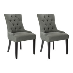 Safavieh - Cava Dining Chair (Set of 2) - It's a Deco darling. The Cava Dining Chair bring chic, modern style to the dining room. Their lush sea mist linen upholstery highlights its curvaceous figure while its sleek birch wood legs with espresso finish add just the right amount of Park Avenue style.