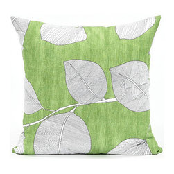 Blooming Home Decor - Green & White Leaf Throw Pillow Cover - - 100% cotton