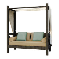 Forever Patio - Hampton Outdoor Canopy Day Lounger, Chocolate Wicker and Tan Cushions - Relax in total comfort with the generously-sized and chic Forever Patio Hampton Rattan Patio Canopy Day Lounger with Tan Sunbrella cushions (SKU FP-HAM-CPL-CH-BE). The UV-protected, chocolate-colored wicker sports a flat woven design, creating a contemporary look with clean lines. Each strand of this outdoor wicker is made from High-Density Polyethylene (HDPE) and is infused with its rich color and UV-inhibitors that prevent cracking, chipping and fading ordinarily caused by sunlight. This outdoor day lounger is supported by thick-gauged, powder-coated aluminum frames that make it more durable than natural rattan.This lounger includes fade- and mildew-resistant Sunbrella cushions, throw pillows and bolster pillows for added comfort in your outdoor space.
