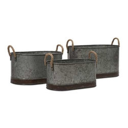 Camay Oval Tubs - Set of 3 - These vintage inspired iron tubs are a great addition in a casual setting. Use them every day to hold magazines, dog toys, throw pillows or decorative filler, or use them to serve snacks and beverages at parties!
