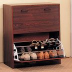 Coaster - Cherry Transitional Double Storage Rack - Double cherry finish shoes rack with ample storage space. Designed for your closet or entry way.