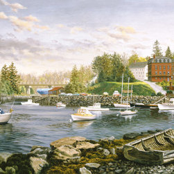 Murals Your Way - Cozy Cove Wall Art - Large and small boats bob in the harbor of a cove, surrounded by stone walls. In the painting's foreground, an old rowboat slowly disintegrates