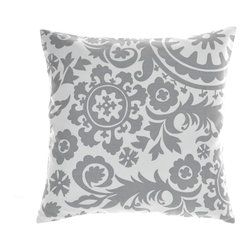 "La Mode Couture - Suzanni Silver Pillow 20"" x 20"" Includes Feather/Down Insert - Feel the wondrous gentle design softly embracing your home."