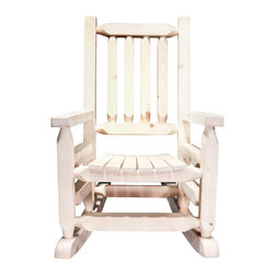 Montana Woodworks - Rustic Child Rocker - Hand crafted. Sawn square timbers and trim pieces for rustic timber frame design. Heirloom quality. Solid lodge pole pine. Made from U.S. solid grown wood. Lacquered finish. Made in U.S.A.. No assembly required. Armrests: 14 in.. Seat height: 12 in.. Overall: 20 in. L x 26 in. W x 31 in. H (18 lbs.). Warranty. Use and Care InstructionsFrom Montana Woodworks, the largest manufacturer of handcrafted quality log furnishings in America comes the all new Homestead Collection line of furniture products. This smaller, child's-sized version of Montana Woodworks extremely popular rocking chair is just the right size for your children, grandchildren or younger friends and family. Made with the same careful attention to detail as our full-sized rocking chair, our artisans employ the superior, mortise and tenon joinery to ensure this little rocker will be in the family for generations to come.