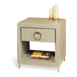 Interlude Home - Interlude Home Stella Bedside Chest - This Interlude Home Bedside Chest is crafted from Wood and Metal and finished in Gray Ceruse and Polished Nickel.  Overall size is:  24 in. W  x  20 in. D x 26 in. H.