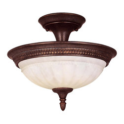 Savoy House - Savoy House KP-6-507-2-40 Liberty Semi-Flush - Climb into your horse drawn carriage and go back in time with the Liberty collection. A dignified Colonial design with a rustic Walnut Patina finish almost makes this collection an amercian treasure.
