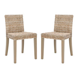 Safavieh - Tulum Side Chair (Set Of 2) - The Tulum Side Chair brings contemporary and casual style to the table. With sleek transitional lines crafted of mahogany and woven kubu in a grey wash finish, this rattan chair is perfect for modern dining rooms that need a warm touch. (Sold in a set of two)