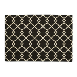 Black Classic Trellis Custom Placemat Set - Is your table looking sad and lonely? Give it a boost with at set of Simple Placemats. Customizable in hundreds of fabrics, you're sure to find the perfect set for daily dining or that fancy shindig. We love it in this small classic cream trellis on flooded black cotton sateen.