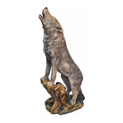 EttansPalace - Lone Wolf Garden Statue - When you see this realistic wild wolf sculpture seemingly come to life in your garden, it might just make you do a double take! Since beauty is in the details, our amazingly realistic , quality designer resin, animal sculpture is hand-painted one piece at a time.