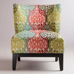 Rio Multicolored Ikat Darby Chair - This multicolored ikat pattern gives you lots of color inspiration for the rest of your room. I would pair it with more neutral upholstery, and pull out some of the brighter colors for sofa pillows or curtains.