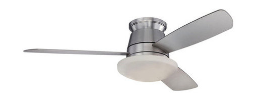 "Savoy House - Savoy House 52-417H-3SV-SN Polaris 52"" 3-Blade Hugger Ceiling Fan with RMT006 Re - Polaris 52"" 3-Blade Hugger Ceiling Fan with RMT006 Remote Control, Light Kit and Silver Fan Blades, Finished in Satin NickelSavoy House Polaris Hugger Hugger Ceiling Fan Features:"