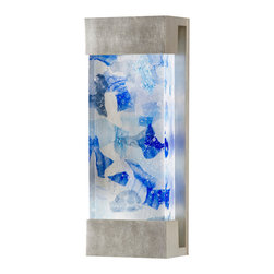 Fine Art Lamps - Crystal Bakehouse Cobalt & Aqua Crystal Sconce, 810950-32ST - Sleek and contemporary, the crystal blue sconce is ideal for lighting up your porch or entrance. Or bring it indoors to brighten up a hallway or home theater. Top and bottom lights glow through a block of aqua and cobalt blue crystal pieces.