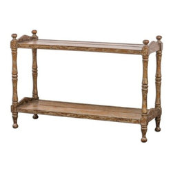 Uttermost - Uttermost Macaire Wooden Sofa Table - Made from plantation-grown mahogany wood, honey-stained and hand painted in warm oatmeal with heavy distressing.