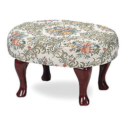 Coaster - Multi Color Traditional Step Stool - Cherry finish upholstered foot stool.