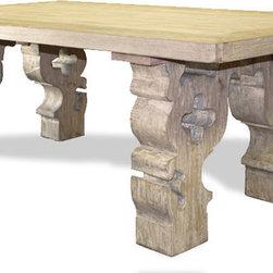 Louisa Corbels Dining Table, Natural Wood and Antiqued Cream with Grays - Louisa Corbels Dining Table, Natural Wood and Antiqued Cream with Grays