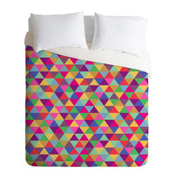 DENY Designs - Bianca Green In Love With Triangles Duvet Cover - Turn your basic, boring down comforter into the super stylish focal point of your bedroom. Our Luxe Duvet is made from a heavy-weight luxurious woven polyester with a 50% cotton/50% polyester cream bottom. It also includes a hidden zipper with interior corner ties to secure your comforter. it's comfy, fade-resistant, and custom printed for each and every customer.