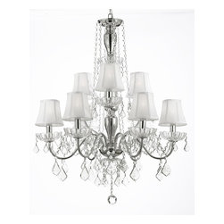 Shade 9 Light Crystal Chandelier H32XW26 Lighting Fixture Pendant Ceiling Lamp - A Great European Tradition. Nothing is quite as elegant as the fine crystal chandeliers that gave sparkle to brilliant evenings at palaces and manor houses across Europe. This unique version from the Royal Collection features glass tube arms.The timeless elegance of this chandelier is sure to lend a special atmosphere anywhere it is placed!