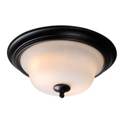 Kenroy Home - Kenroy 93116ORB Basket 2 Light Flush Mount - The Basket collection is a fresh update on early Americana inspried charm. Graceful sloping arms are warmly finished in oil rubbed bronze while soft white forsted glass shades offer diffused lighting.