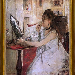 "Berthe Morisot-16""x20"" Framed Canvas - 16"" x 20"" Berthe Morisot Young Woman Powdering Her Face framed premium canvas print reproduced to meet museum quality standards. Our museum quality canvas prints are produced using high-precision print technology for a more accurate reproduction printed on high quality canvas with fade-resistant, archival inks. Our progressive business model allows us to offer works of art to you at the best wholesale pricing, significantly less than art gallery prices, affordable to all. This artwork is hand stretched onto wooden stretcher bars, then mounted into our 3"" wide gold finish frame with black panel by one of our expert framers. Our framed canvas print comes with hardware, ready to hang on your wall.  We present a comprehensive collection of exceptional canvas art reproductions by Berthe Morisot."
