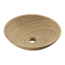 "MR Direct - MR Direct 852 Wood Sandstone Vessel Faucet - The 852 wood sandstone vessel sink is made from natural sandstone. The sink is carved from a large block of sandstone and smoothed out to create a beautiful sink. This sink has a wood-looking pattern with weaving colors of brown and tan. Since sandstone is a natural stone, the details will vary in color and pattern from sink to sink.  A matching stone waterfall faucet is available to correspond with this sink. The overall dimensions for the 852 are 16 1/2"" Diameter x 5 1/2"" Height and an 18"" minimum cabinet size is required. As always, our stone sinks are covered under a limited lifetime warranty for as long as you own the sink."
