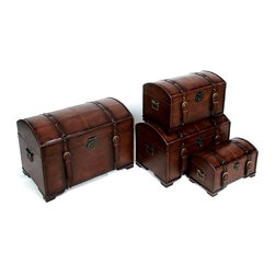 International Caravan - 4 Pc Graduated Size Faux Leather Storage Trun - Comes in 4 sizes all stored in one with buckle. Great for storing extras