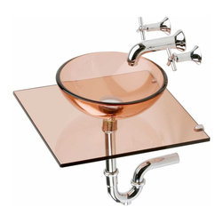 Renovators Supply - Vessel Sinks Zinfandel Glass Plateau Wall Mount Vessel Sink - Mystic Plateau Wall Mount Vessel  package comes complete with pop-up drain, p-trap and wall-mount cross handle faucet. Tempered glass vessel with counter space for bathroom items.