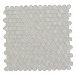 Sample-Loft Sand Beach Glass Penny Round Tiles Sample - Sample-Loft Sand Beach Glass Penny Round Tiles Sample   Samples are intended for color comparison purposes, not installation purposes.    -Glass Tiles -
