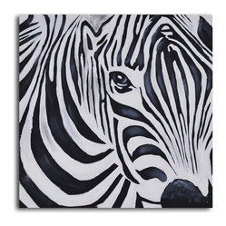 """Zebra Perspective"" Hand-Painted Canvas Art - Zebras have fascinated artists since the Persian Empire. Here's your chance to gaze into the eyes of this lovely animal. Painted with acrylic on canvas stretched over a one-inch thick wooden frame, this gentle zebra can adorn your wall as soon as he arrives."
