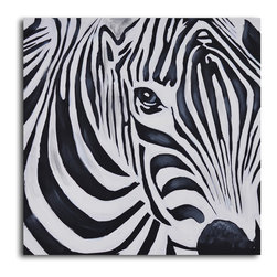 Zebra perspective Hand Painted Canvas Art - Zebras have fascinated artists since the Persian Empire. Here's your chance to gaze into the eyes of this lovely animal. Painted with acrylic on canvas stretched over a one-inch thick wooden frame, this gentle zebra can adorn your wall as soon as he arrives.