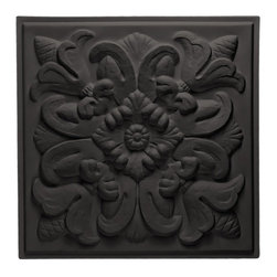 "Florentine Ceiling Tile - Black - Perfect for both commercial and residential applications, these tiles are made from thick .03"" vinyl plastic. Their lightweight yet durable construction make these tiles easy to install. Waterproof, these tiles are washable and won't stain due to humidity or mildew. A perfect choice for anyone wanting to add that designer touch at an amazing price."
