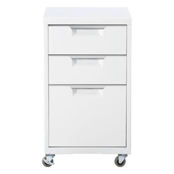 "TPS white file cabinet - totally perfect storage. File under ""industrial."" Mechanic-shop chic powdercoated white. Two drawers top a letter/legal file. Stainless steel drawer grips; four casters (front two lock).- Durable steel sheet construction with stainless steel handles- White powdercoat finish- One letter-legal file drawer; two additional storage drawers- Four 2"" casters; brakes on two front casters- Wipe clean with a damp cloth- Made in Taiwan- See dimensions below"