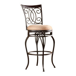 Holly and Martin - Maguire Swivel Bar Stool - Complement your decor with elegant, convenient seating. The intersected scrollwork and curved legs of this bar stool create a refined, stylish look.