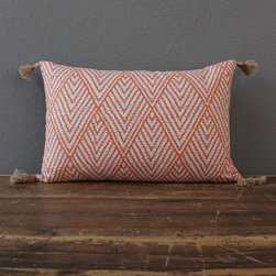 tahitian stitch tangerine pillow - view this item on our website for more information + purchasing availability: http://redinfred.com/shop/category/detail/throw-pillows/tahitian-stitch-tangerine-pillow/