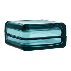 "Iittala - Vitriini Box 4.25"" x 4.25"" Sea Blue - A virtuoso of versatility, Anu Penttinen's gorgeous glass box makes a gem of jewelry storage. Place it on a hallway table to store your keys or add a splash of color in the bath. Wherever you display it, you won't want to keep this teeny tiny treasure chest hidden."