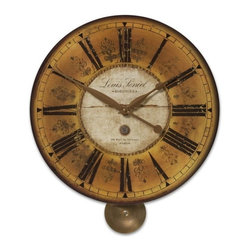 Uttermost - Uttermost Louis Leniel Clock - Weathered, laminated clock face with brass accents and pendulum. Requires 1-AA battery.