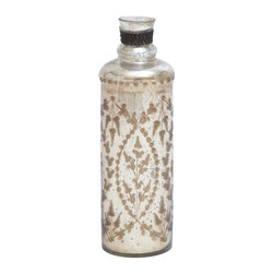 Attractive Glass Bottle in Brown and White Pattern - Sleek and stylish, this Glass Bottle is a wonderful addition to kitchen settings if you want to give them a neat, vintage appearance. The attractive appearance of this bottle also makes it ideal for incorporating in settings as a decor accessory. The bottle exudes a rustic appeal as it includes a brown and white pattern on the outside, making it stylish in appearance and functional in use. It features a simple design that is ideal for blending in with all kitchen settings. The slim profile ensures this bottle will not take up too much space. Made from high quality plant material, the bottle has a sturdy and durable make and is perfect for holding all kinds of liquids. It is an elegant gifting option on special occasions. It comes with following dimensions: