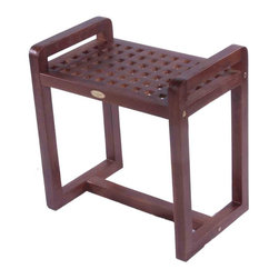 "Deco Teak - 18"" Teak Grate Shower and Outdoor Stool with Lift Aide Arms - Deco Teak Grate Stool LiftAide 20"" length ergonomic spa bench provides a combination of comfort and elegance to your spa, shower, bathroom, patio, or living area. The classic grate pattern aids a contemporary modern feeling to the furniture similar to modern Scandinavian designs. Extensive clinical research has shown that by simply providing arms to assist in lifting out of a chair, the added leverage can increase efficiency by almost 200%. The LiftAide arms are designed to be sturdy, and steady to provide that added support and assistance when lifting out of the shower chair. They also provide a handy surface for hanging towels on, and the bench can double as a towel rack once you are out of the shower. The solid teak stool is 20"" in length by 13"" width, by 18"" high. Teak is naturally water, mold, and mildew resistant due to its natural density and high oil content. It has been the wood of choice for hundreds of years of luxury boat builders. This natural resistance has been supplemented by using our proprietary Deco Teak stain which is a deep penetrating stain with added mold, mildew, and fungus inhibitors. It provides the ability for this teak furniture to be used outdoors as well as indoors. LiftAide arms and extended length for ease of sitting and standing; 30 day satisfaction guarantee; Indoor outdoor deep penetrating stain for water, mold, mildew, fungus, and sunlight resistance; Dimensions: 20"" L x 13"" W x 18"" H; Height of Handle: 21"""