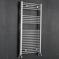 Premium Chrome Curved Heated Bathroom Towel Radiator Rail 47.25 x 23.5
