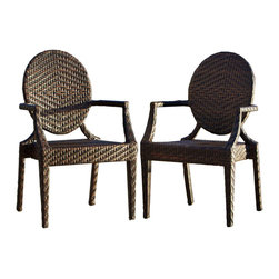 Great Deal Furniture - Townsgate PE Wicker Outdoor Arm Chair (Set of 2) - Move the party outdoors. Use these handsome wicker armchairs to create a comfortable entertaining space on your patio. The versatile, all-weather chairs come in a pair and ready to use. Don't miss another opportunity to enjoy an evening under the stars.
